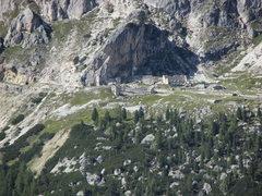 Rock Climbing Photo: Closeup view of military ruins at base of Falzareg...