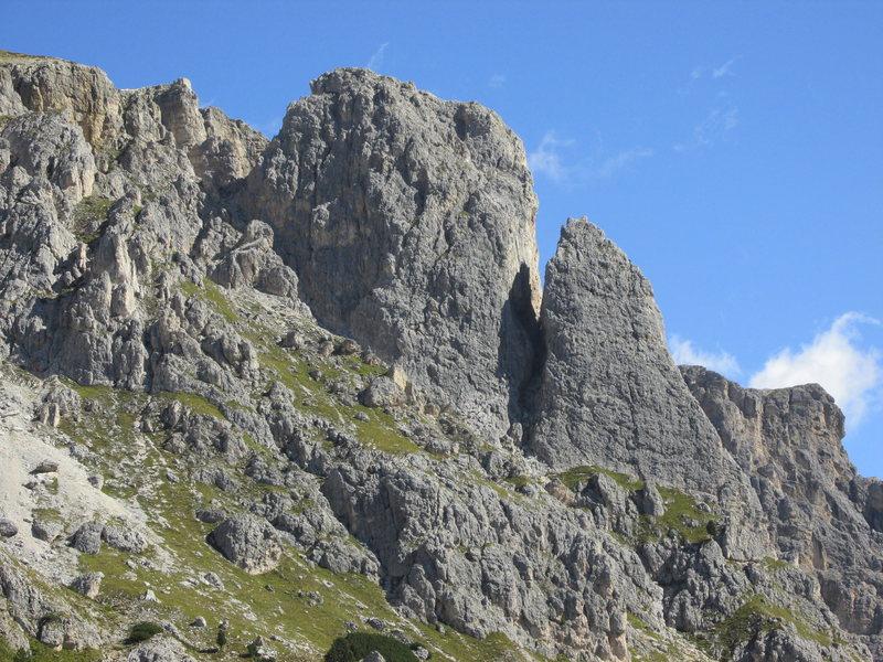 Falzarego Towers viewed from Valparola Pass area.