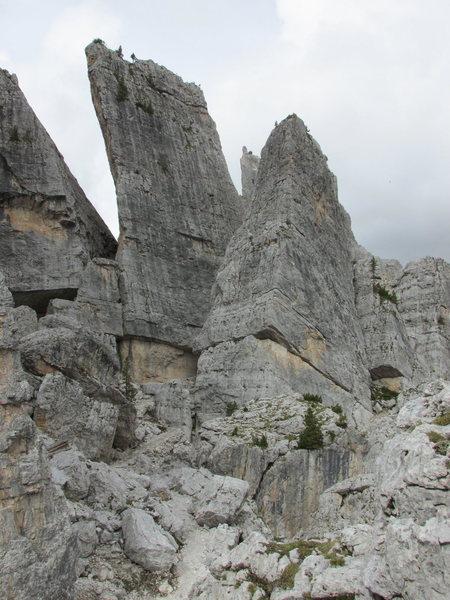 Torre Quarta Alta (left-rectangular formation), and Torre Quarta Bassa (right-pyramidal formation).