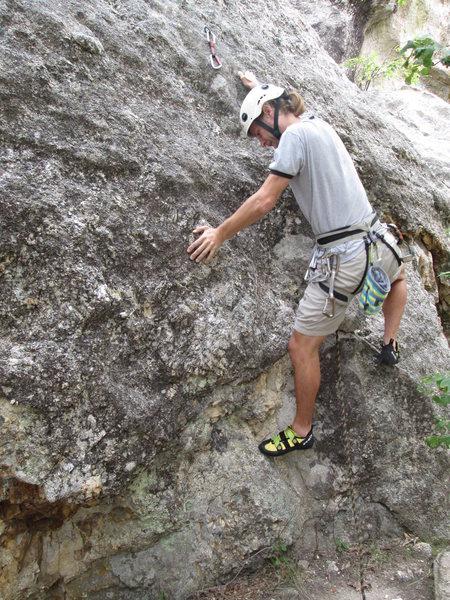 Me climbing Second Hand Rose Arete.