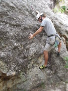 Rock Climbing Photo: Me climbing Second Hand Rose Arete.