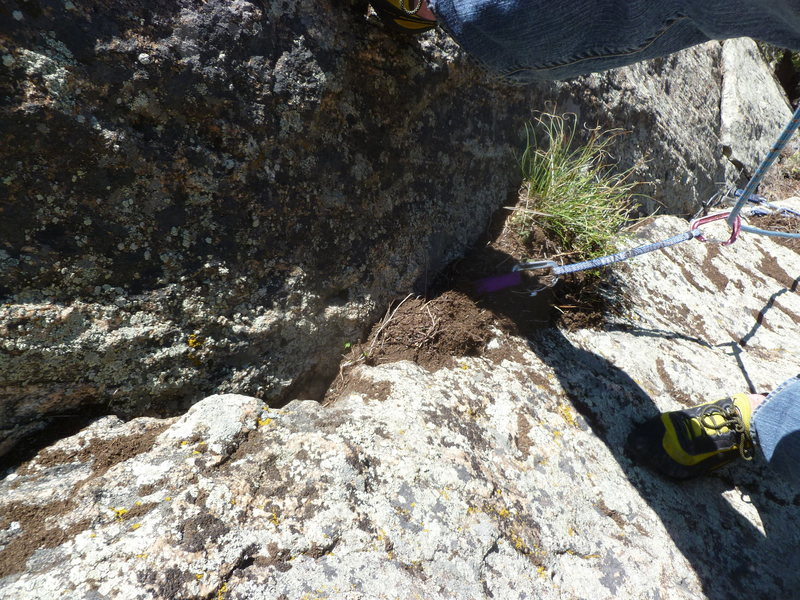 Rock Climbing Photo: Some of the cleaned out crack.  The cam you can se...