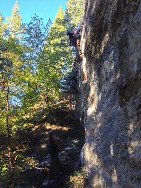 Pockets and mail slots lead to a big crux move on crimpers and small feet. What's not to love about that? :) Tricky for the grade.<br> <br> (Photo by Perin Blanchard)