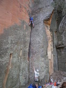 Rock Climbing Photo: david ott belaying sail f for his on sight  on sym...