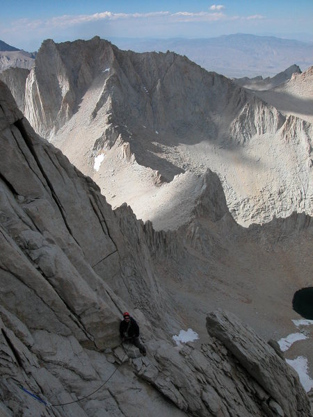 Dr Mccormack pausing on the East Buttress Of Mt Whitney, 14,496.