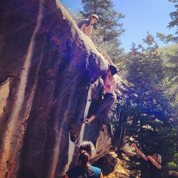 Rock Climbing Photo: Making the big throw to the good sloper on the top...
