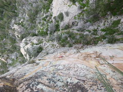 Rock Climbing Photo: Looking down at pitch 2