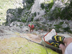 Rock Climbing Photo: Looking down from the horn on pitch 3.  An airy ha...