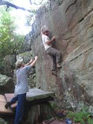 Rock Climbing Photo: Adam Wells getting into the final slopey crimp of ...