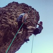 Rock Climbing Photo: double rap off the top of haji rock