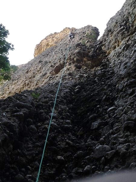 Rock Climbing Photo: First pitch of exit wound