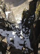 Rock Climbing Photo: The sweet couloir after the 5.4 downclimb between ...