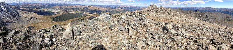 Summit panaroma from Atlantic, looking west-northeast.  The west face of Fletcher, summit of Pacific, Blue River Valley.