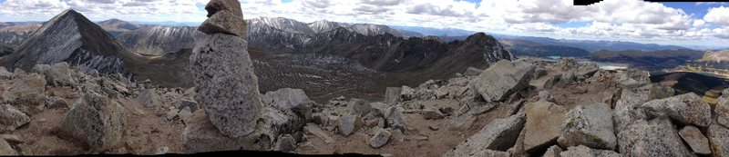 Panorama from Fletcher looking (L to R) at Quandary, Wheeler, Bartlett, and Drift.