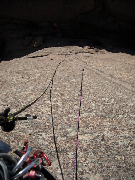 Looking down from the 5th bolt on the 'Bolted Route'. This route felt like a 5.8 just leading to the crux. Need more people to climb and vote, to get a better average rating.