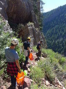 Rock Climbing Photo: Heading down after finishing Redgarden.