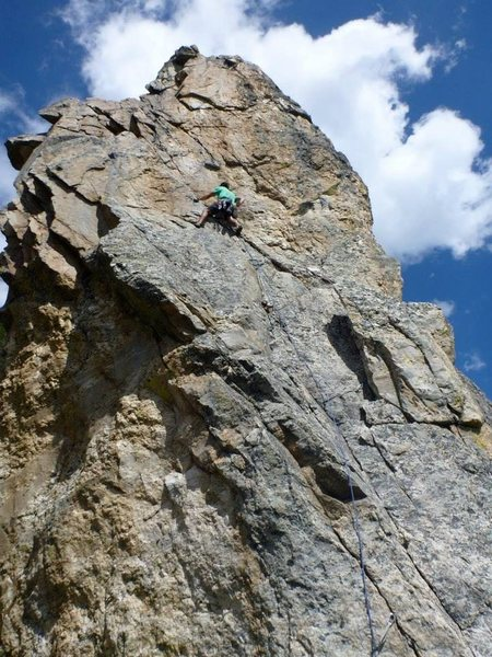 Rock Climbing Photo: Final pitch, at the start of the layback.