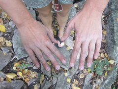 Rock Climbing Photo: Lucander's hands after latching on to the brutal c...