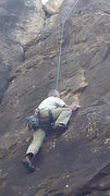 Rock Climbing Photo: Thomas Allard following through the flake.