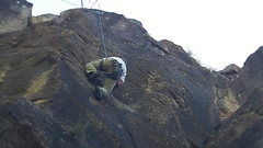 Rock Climbing Photo: Tom Allard working the pockets up the face.