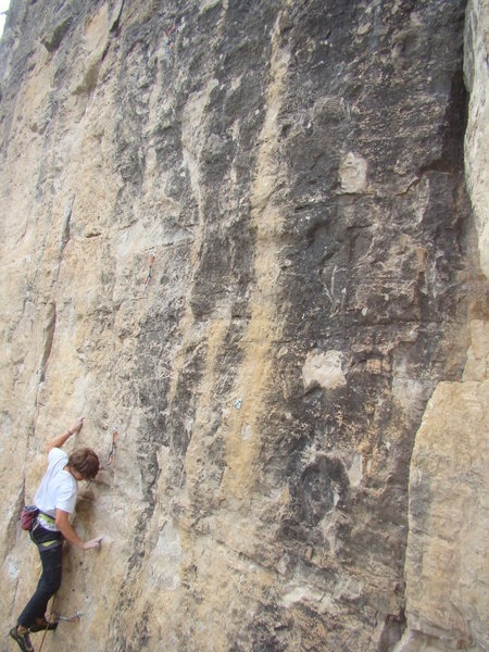 Jack on Cleveland Steamer, 5.11b<br> Bradyism Wall, Big Picture Gully.<br> Spearfish Canyon, SD.