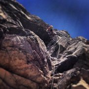 Rock Climbing Photo: Rachel linking pitch 14 (5.11-) and pitch 15 (5.10...