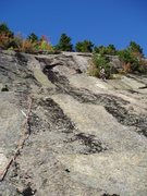 Rock Climbing Photo: Sir Bors Dream-Top of P1, looking at P2 (slab abov...