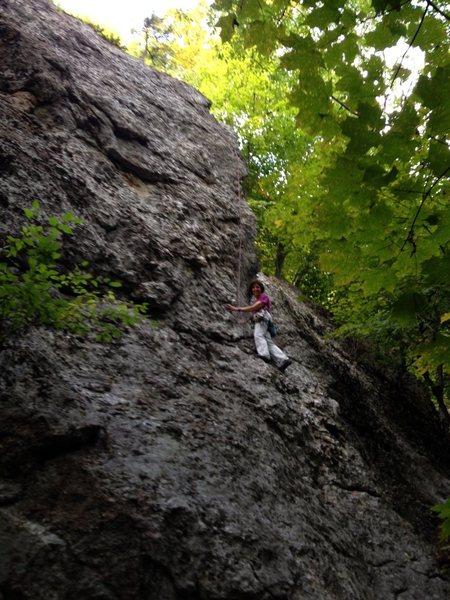 Rock Climbing Photo: Sheila Matz on $20 Arete-tion; Elastic Slacks a fe...