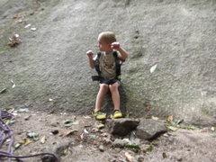 Rock Climbing Photo: Zackary getting pumped about climbing