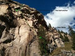Rock Climbing Photo: Grotto Wall Traverse, 3 pitch 5.8.
