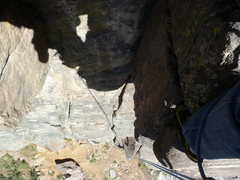Rock Climbing Photo: Looking down from just above the crux.