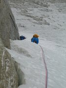 2nd pitch. Today the climb was ice bottom to top and a little steeper than the usual 50 degrees.