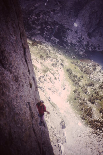 Rock Climbing Photo: Midway up the wall in the 1980s