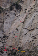 Rock Climbing Photo: 'Core Blimey' (3p) with 4th pitch continuation of ...