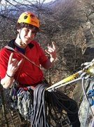 Hanging out at the semi-hanging belay on Horseman.