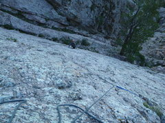 Rock Climbing Photo: Looking down at the tree marking start of P1