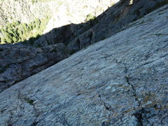Rock Climbing Photo: Looking down P3 - seemed like the crux pitch to me...