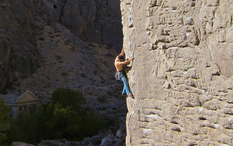 Rock Climbing Photo: BFK on Morning Wood with the ruins of Mordor in th...