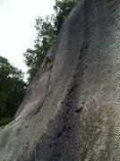 Rock Climbing Photo: Dan motoring up the Crescent