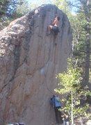Rock Climbing Photo: Gunning for the lip.