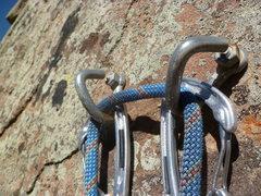 Rock Climbing Photo: The open cold shuts at the anchor.