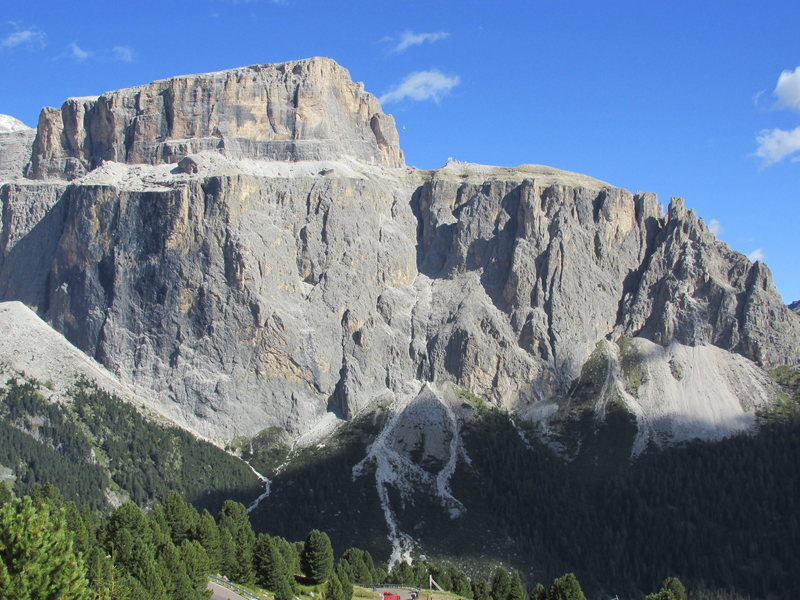 Rock Climbing Photo: Piz Pordoi from Sella Pass, East Side. With the ma...