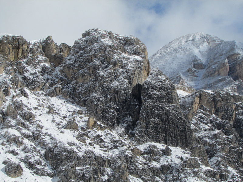 Rock Climbing Photo: Snow covered Falzarego Towers.