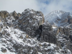 Rock Climbing Photo: Snow covered Falzarego Towers.