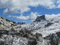 Rock Climbing Photo: Croda da Lago and Averau with snow...