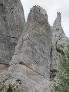 Rock Climbing Photo: Torre Quarta Bassa, Via Normale,  with approximate...