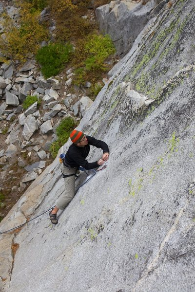 Rock Climbing Photo: Getting to grips with the crux sequence on Faithfu...