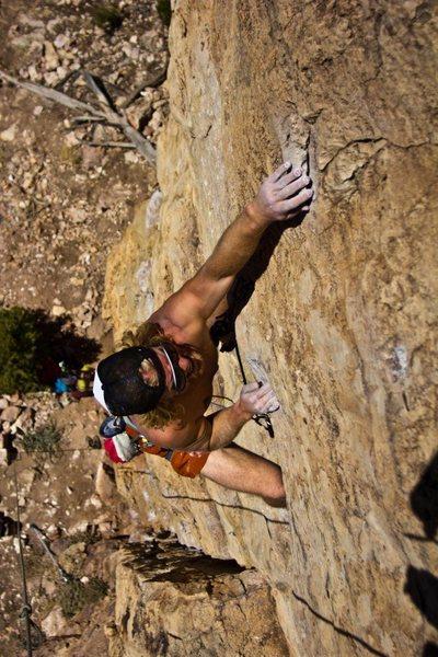 """Rock Climbing Photo: Climbing """"Flesh Tuxedo"""" at Shelf Road, C..."""