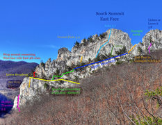 Rock Climbing Photo: Overview of the South East Face. Take note of the ...