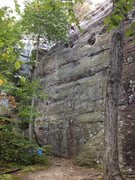 Rock Climbing Photo: Route begins at the crack just right of the tree